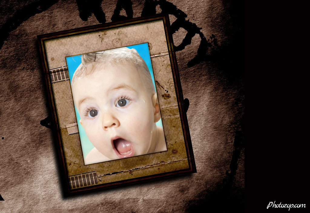 Create Funny Photo Montage picture frame with vintage design