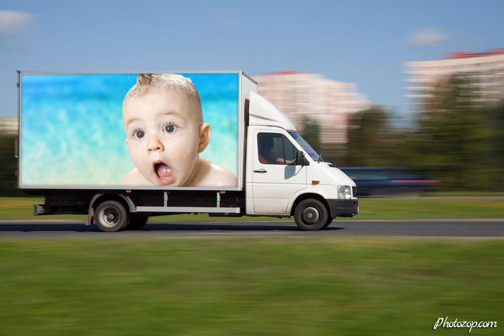 Create Funny Photo Montage advertisement on truck